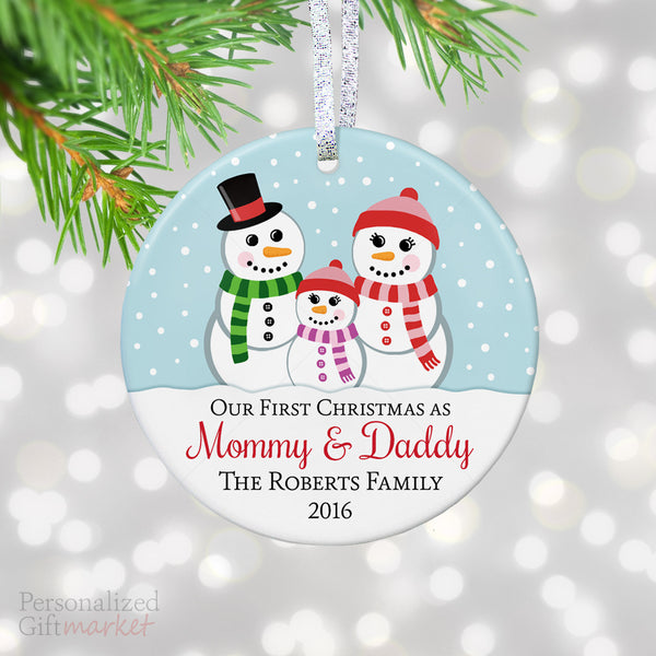 Mommy And Daddy First Christmas Ornament Personalized