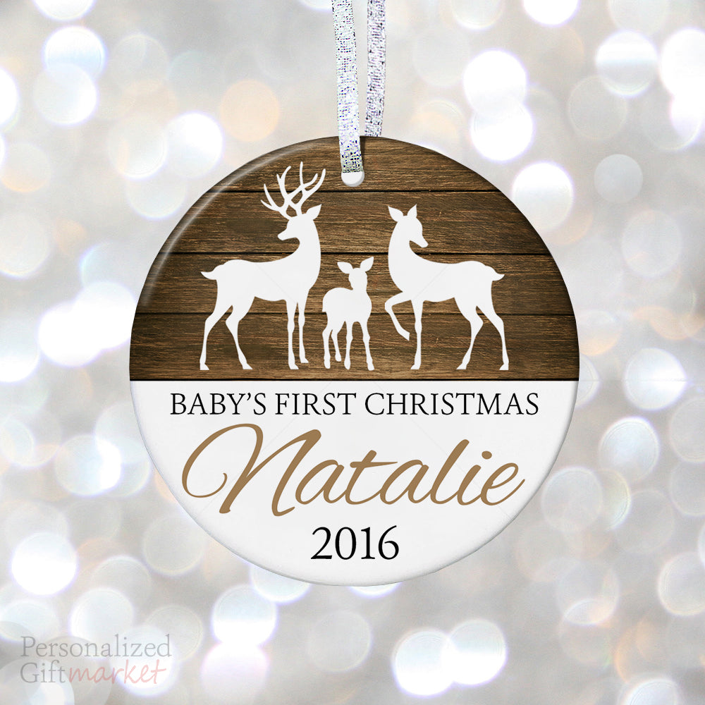 personalized babys first christmas ornament rustic baby deer