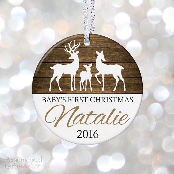 Best baby gifts personalized gift market personalized babys first christmas ornament rustic baby deer personalized gift market negle Choice Image