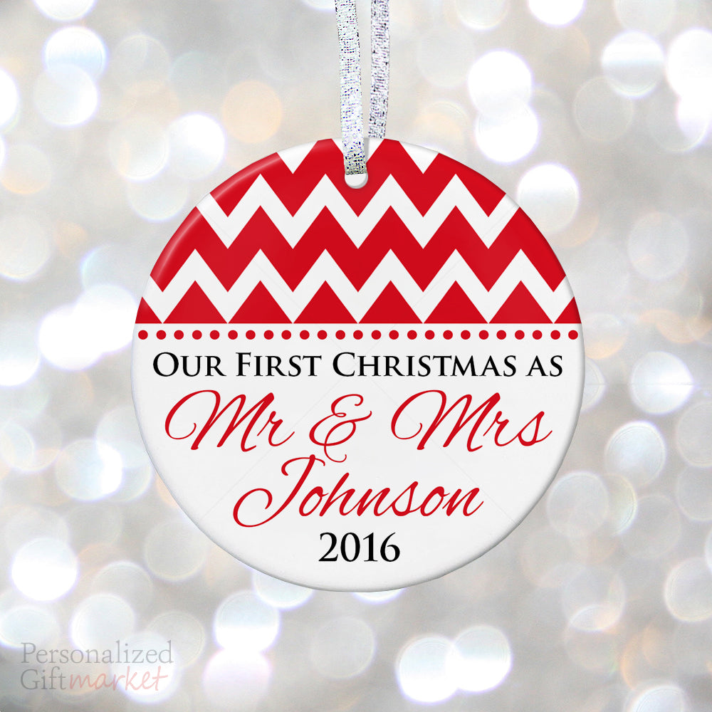 Chevron First Christmas as Mr & Mrs Ornament – Personalized Gift ...