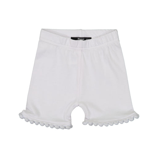 White Pompom Trim Shorties