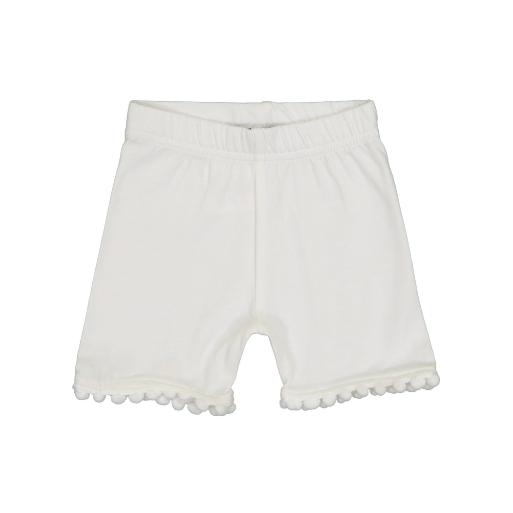 Ivory Pompom Trim Shorties