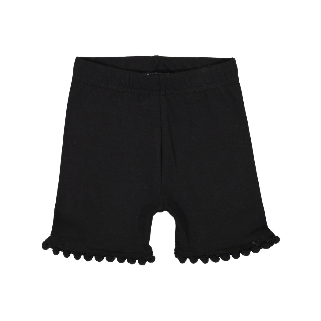 Black Pompom Trim Shorties