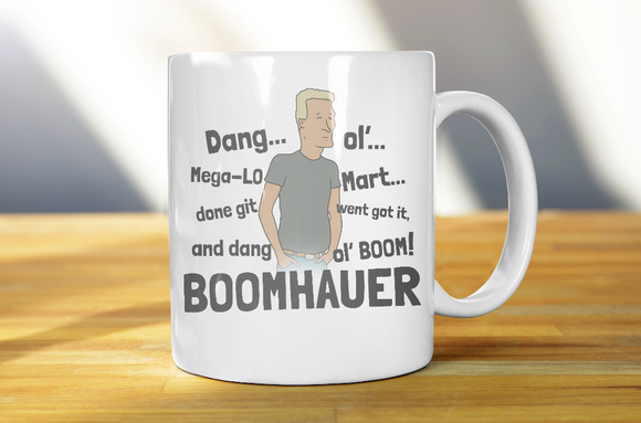 Boomhauer Tells About Mega Lo Mart King Of The Hill Coffee Mug - Killed Fitty Men