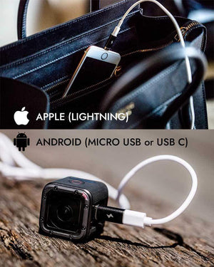 Chargeasap Magnetic X-Connect adapter attached to iPhone in Celine handbag and GoPro