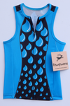 Blue and Black Water Drop Sleeveless Sports Jersey