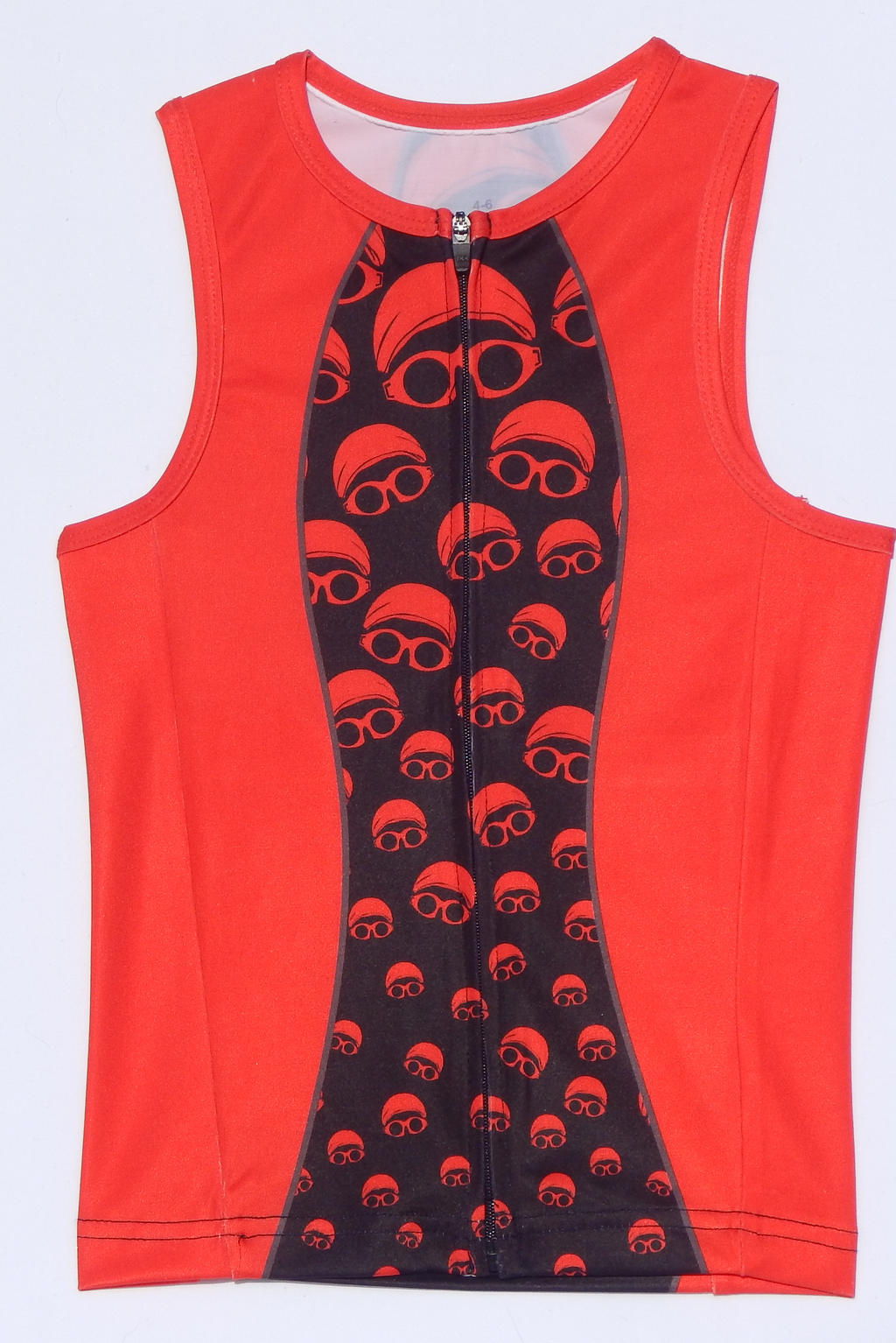Red and Black Cap and Goggle Eyes Sleeveless Sports Jersey