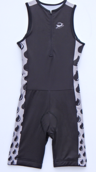 Black and Silver Water Drop Full Race / Triathlon Suit