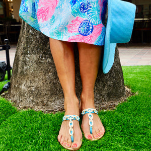 turquoise handcrafted jeweled sandals