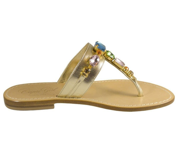 Firenze muliticolor jeweled gold leather capri sandal