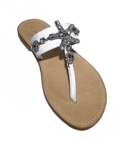 Stella White Slide Jeweled Sandal