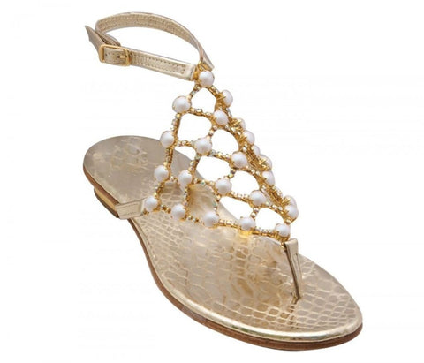 Juliette crystal pearl gold leather capri sandal
