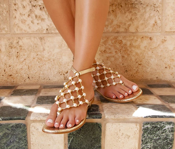 Juliette crystal pearl gold leather capri sandal juliette