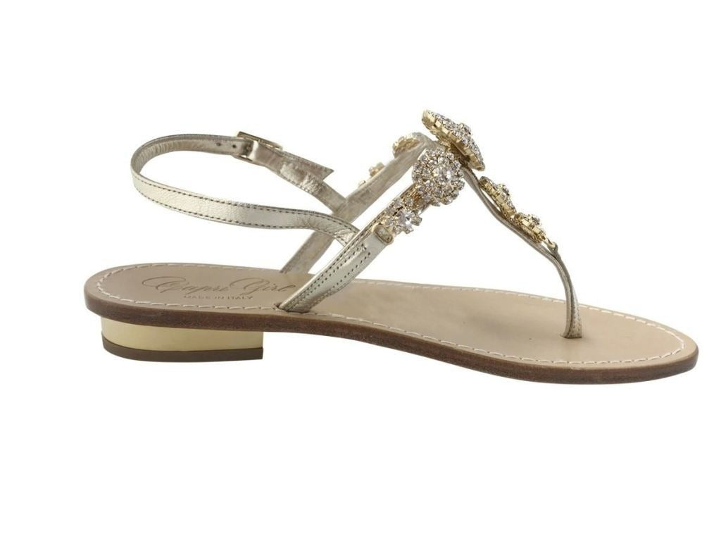 28a489d88 ... Pearla Capri Jeweled gold leather sandal crystal embellishments ...