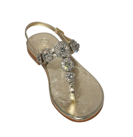 Pearla Mixed Metal Capri Jeweled Sandal