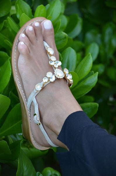 Rosa Wooden Wedge Jeweled Embellished Crystal Opal Leather Sandal