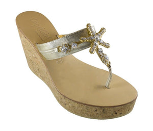 Stella Gold Leather Jeweled Embellished Starfish Sandal Three Inch Cork Wedge