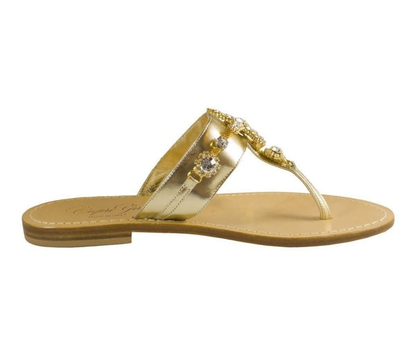 Stella Gold Leather Jeweled Embellished Starfish Sandal