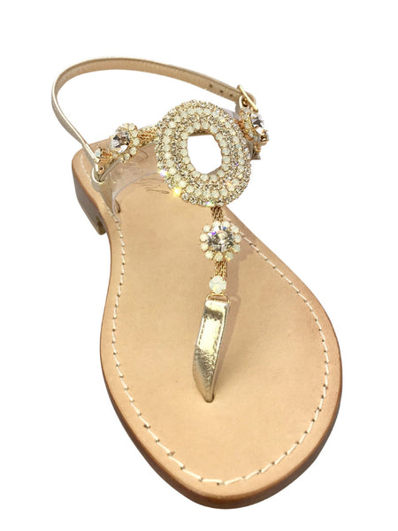 Valentina Natural Capri Jeweled Sandal