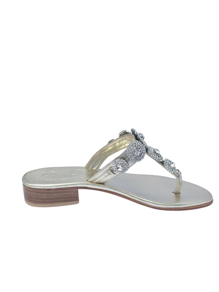 Pearla Mixed Metal Slide Jeweled Sandal