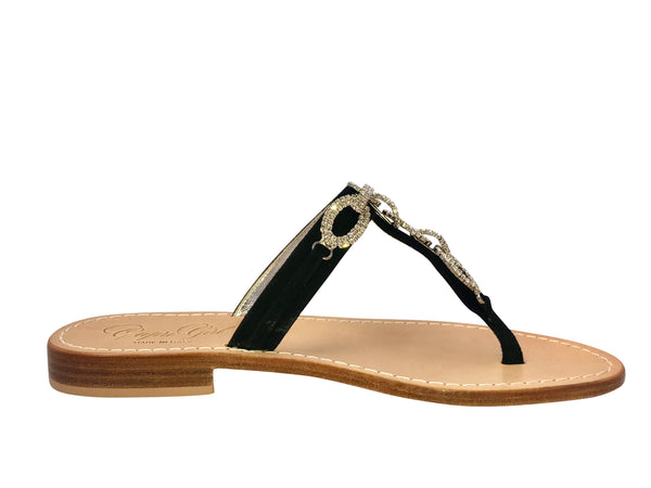 Luca Black Slide Jeweled Sandal