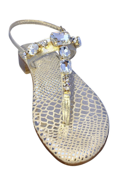 Firenze Crystal Capri Jeweled Sandal with Snake Sole