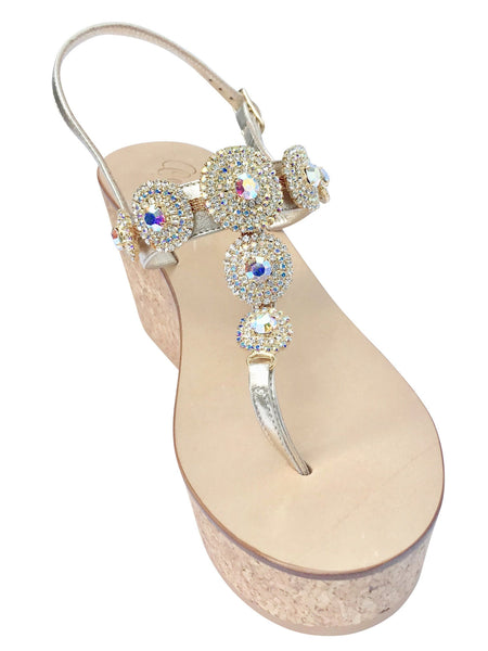 Pearla Cork Wedge Capri Sandal