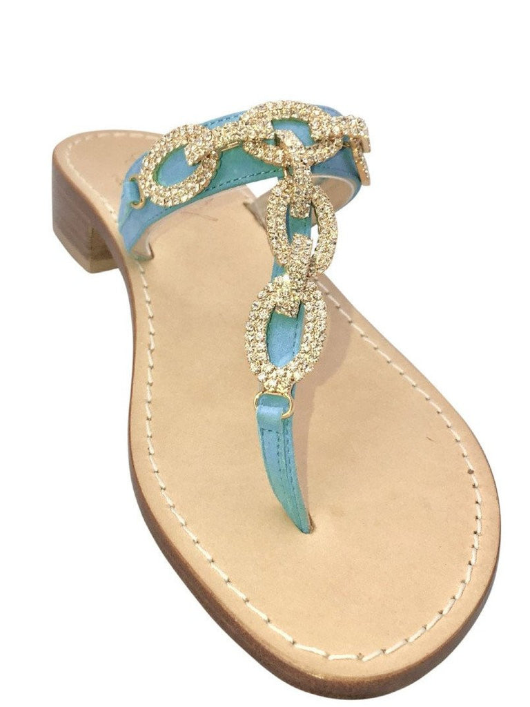 46a0ea3af Luca Turquoise Slide Jeweled Sandal – Capri Girl Sandals