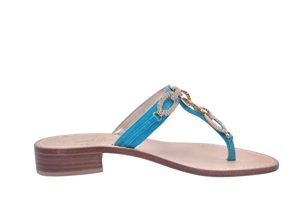 Luca Turquoise Slide Jeweled Sandal