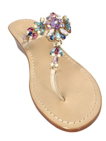 Sophia Wooden Wedge Jeweled Sandal