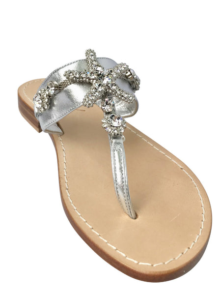 Stella Silver Slide Jeweled Sandal