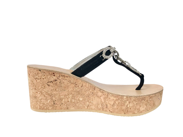 Luca Strapless Black Three Inch Jeweled Cork Wedge