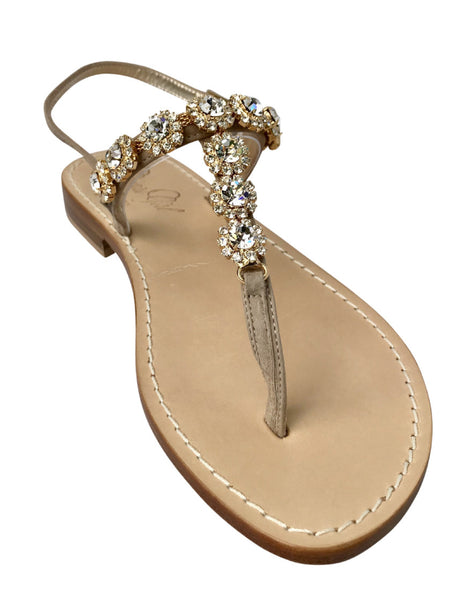 Tessa Natural Capri Jeweled Sandal