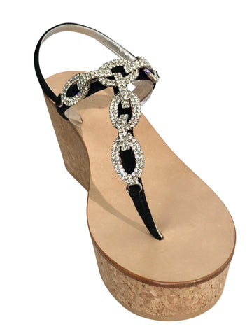Luca Black Three Inch Jeweled Cork Wedge