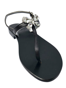 Farfalla Black Leather Jeweled Capri Sandal