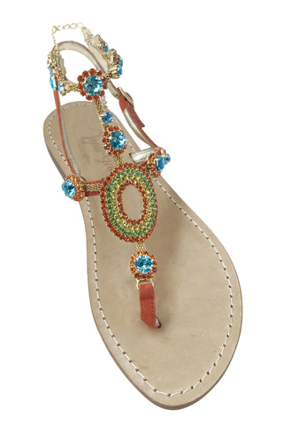 Valentina Orange Capri Gladiator Jeweled Sandal