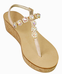 Tessa Blush Suede Two Inch Jeweled Cork Wedge