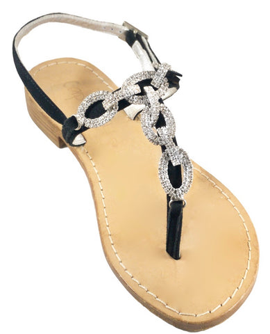 Luca Black Capri Jeweled Sandal