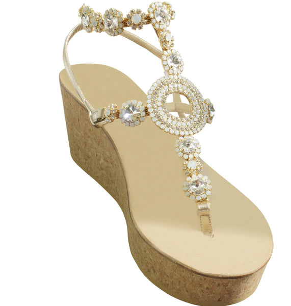 Valentina Natural Three Inch Jeweled Gladiator Wedge