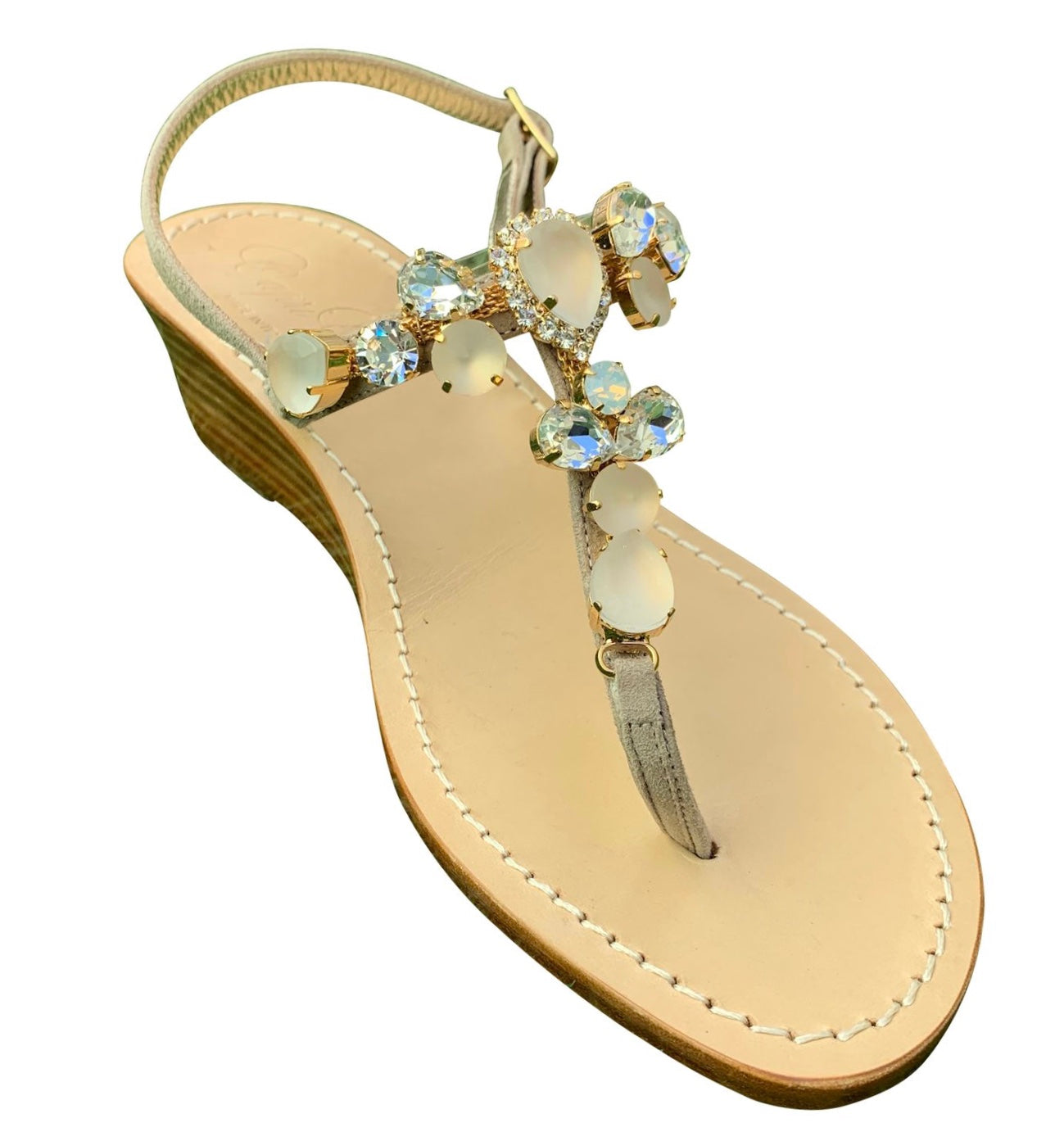 Rosa Jeweled Wooden Wedge