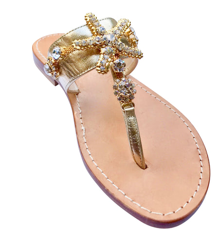Stella Gold Slide Jeweled Sandal