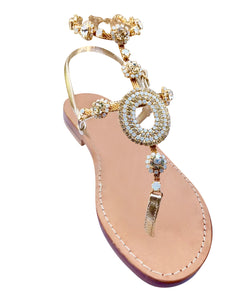 Valentina Natural Capri Gladiator Jeweled Sandal