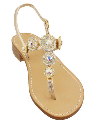 Pearla Iridescent and Crystal Capri Jeweled Sandal