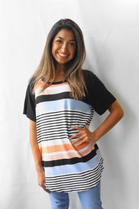 RAGLAN SHORT SLEEVE STRIPED TEE