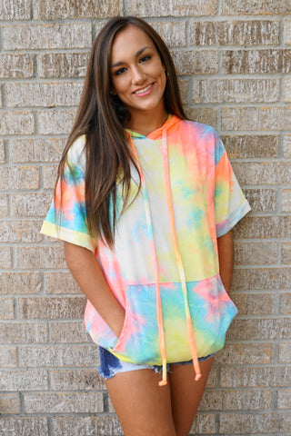 TIE DYE HOODED TOP