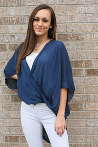 HI LOW NAVY WRAP TOP