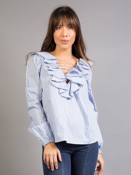 BRISA TOP, WHITE AND BLUE STRIPES