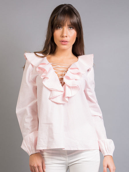 BRISA TOP, WHITE AND PINK SQUARES