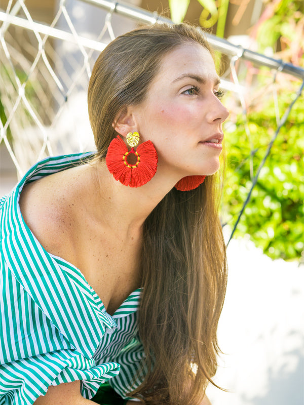 RED WILDFLOWER EARRINGS