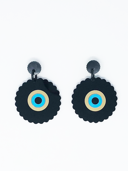 ADINKRA BLACK EARRINGS